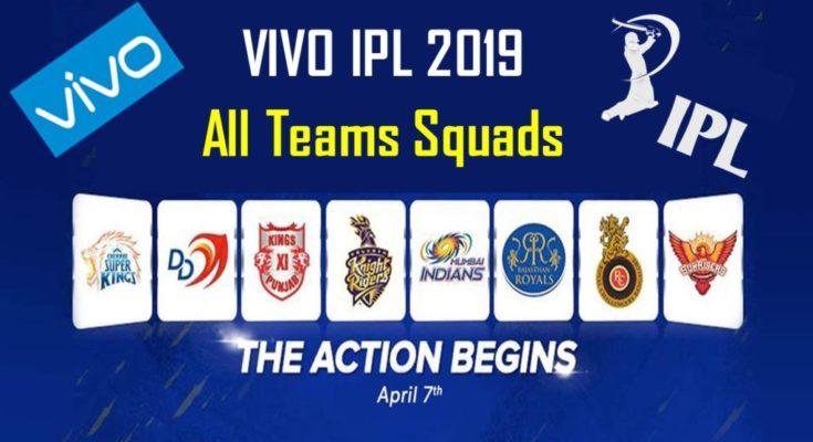 IPL 2019 all team squads, Vivo IPL 2019 all team squads, Sunrisers Hyderabad, Mumbai Indians, Chennai Super Kings, Delhi Capitals
