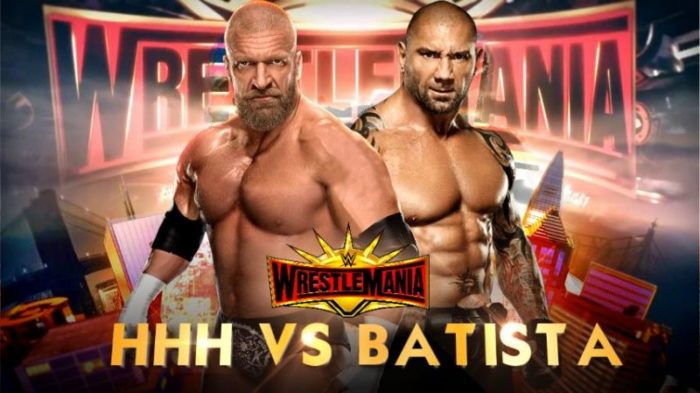 The animal Batista vs The game Triple H at wrestlemania 35, the animal vs the game, batista vs triple h wrestlemania 35, batista wrestlemania 35, triple h wrestlemania 35, sportswhy, wwe